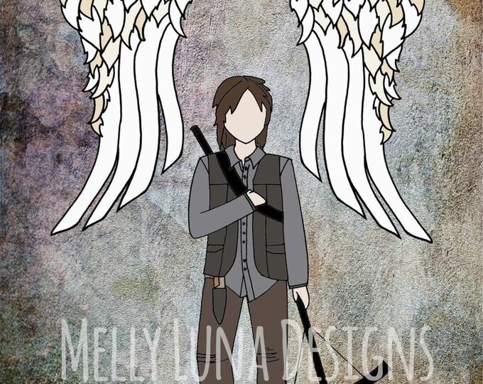 Walking Dead Inspired Print, Daryl, Angel Wings
