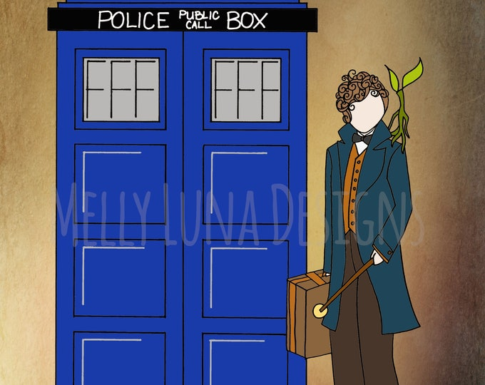 Fantastic Beasts Inspired Print, Magical Combination, Newt meets Tardis