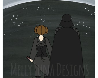 Dark Side Leia, Alternate Ending, Leia and Darth viewing the galaxy