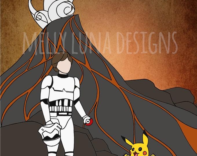 Star Wars Pokemon Mashup, Pokemon Sun Inspired Print, Stormtrooper