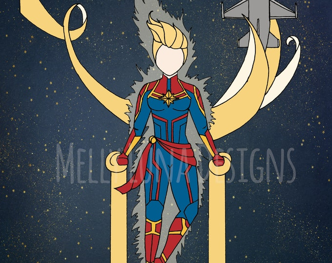 Captain Marvel Inspired Print, Carol Danvers