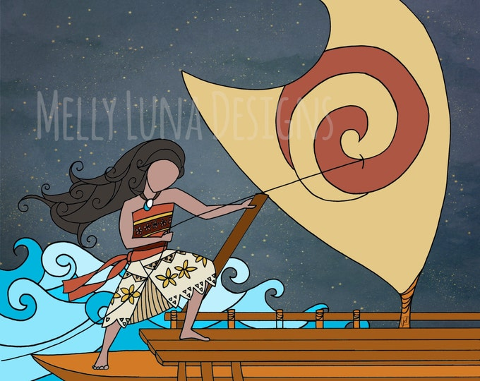 Moana Inspired Print, Bravely Steering the Boat, Ocean