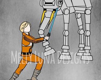 Luke Skywalker vrs. AT-AT Walker, Empire Strikes Back Star Wars Inspired Print