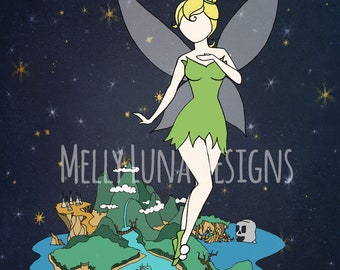 Tinkerbell Inspired Print, Neverland, Second Star to the Right, Peter Pan