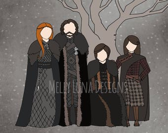 Game of Thrones Inspired Print, the Remaining Starks, Sansa, Jon Snow, Arya, Bran