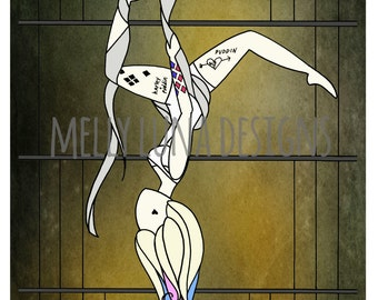 Harley Quinn Inspired Print, HQ as an Aerialist
