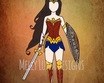 Wonder Woman Inspired Print, Diana, Amazon, DC Comics