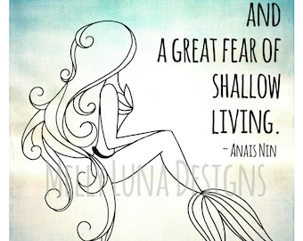 A Mermaid's Message, Anais Nin Quote Inspired Print