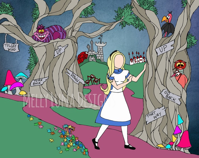 Alice in Wonderland Inspired Print, Tulgey Wood, Cheshire Cat, Red Queen