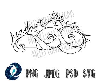 Clouds, Head in the Clouds, Sky // Tattoo, Clipart, Graphics