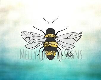 Bumble Bee Print, Nature, Bee, Honey