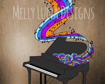 Piano Creating Beautiful Flowing Music Print, Sheet Music, Notes