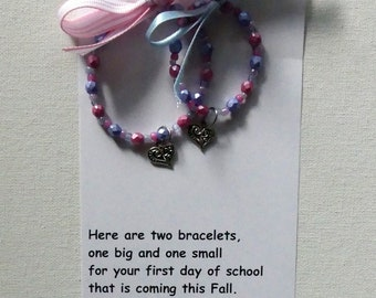 First Day Of School/Kindergarten Bubble Gum Pink And Blue Mother Daughter Matching Stretch Bracelets Gift Set With Heart Charm And Poem
