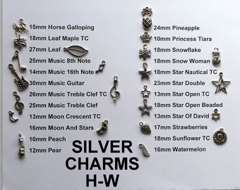 RTS Custom Silver Add On Charms H-W, Add On Silver Charms Jewelry Gifts, Candid Charms Gifts, Keychain/Earrings/Bracelet/Anklet Charms Gifts