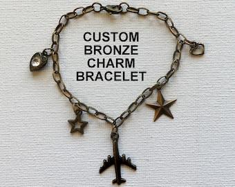 Custom Bronze Brass Charm Bracelet Gift, Bronze Charm Bracelet Gift, Gifts For Her, Candid Charms Gifts, Bronze Brass Charm Bracelet Jewelry
