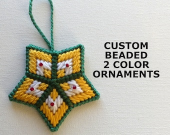 Custom Beaded 2 Color Star Ornaments Gifts, Plastic Canvas Ornament Gifts w/Crystals, Ornate Ornament Gifts, Christmas & Home Decor Gifts
