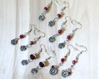 Red Rose Charm Earrings, Red Rose Flower Jewelry, Red Rose Dangle Jewelry, Red Rose Earrings Gift, Gifts For Her, Valentine Earrings Gift