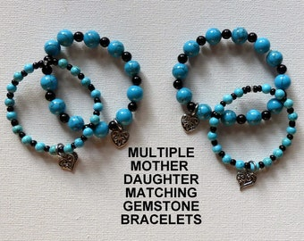 Multiple Custom Mother Daughter Gemstone Bracelet Gifts, School Days Gift, Gifts For Grandma, Gifts For Unisex Kids, Gorgeous Gems Gifts