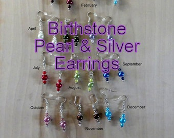 12 Month Birthstone Glass Pearl & Silver Earrings, Birthstone Earrings Gift Set, Elegant Earrings, Gifts For Her, Birthday Birthstone Gift