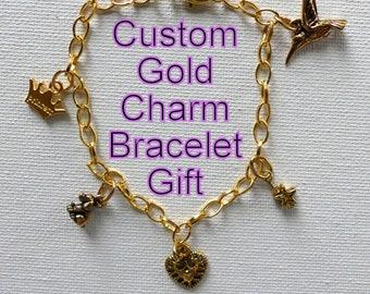 Custom Gold Charm Bracelet Gift 84b9b2a71070
