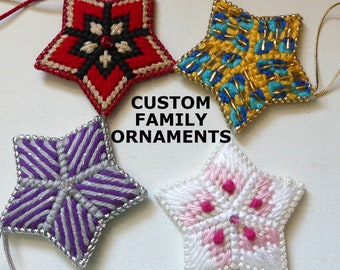 Custom Family Star Ornaments Gift Sets, Plastic Canvas Ornament Gifts, Special Sets Gifts, Home & Living, Family Unbreakable Ornament Gifts