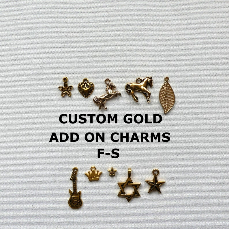KeychainEarringsBraceletAnklet Charms Gifts Add On Gold Charms Jewelry Gifts RTS Custom Gold Add On Charms F-S Candid Charms Gifts