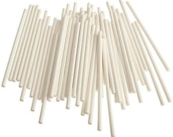 "6"" Paper Cake Pop Stick 100 White Sticks, Great for Cakes Pops, Brownies, Cookies, Rice Krispies, etc"