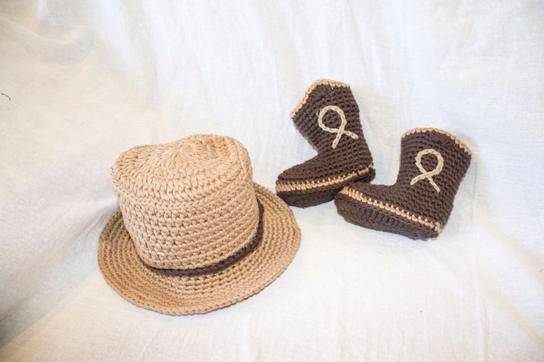 c04311316 Baby Boy Girl Cowboy Newborn Crochet Hat Boots Outfit Crochet