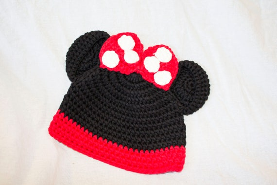 Cap Beanie Hand Crocheted Minnie Mouse Newborn Baby Hat