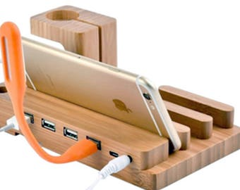 Fathers Day Gift for Dad iPhone Smartphone Wooden Charging Station Cell Phone Dock - Father - Charging Dock - iPhone Charging Station