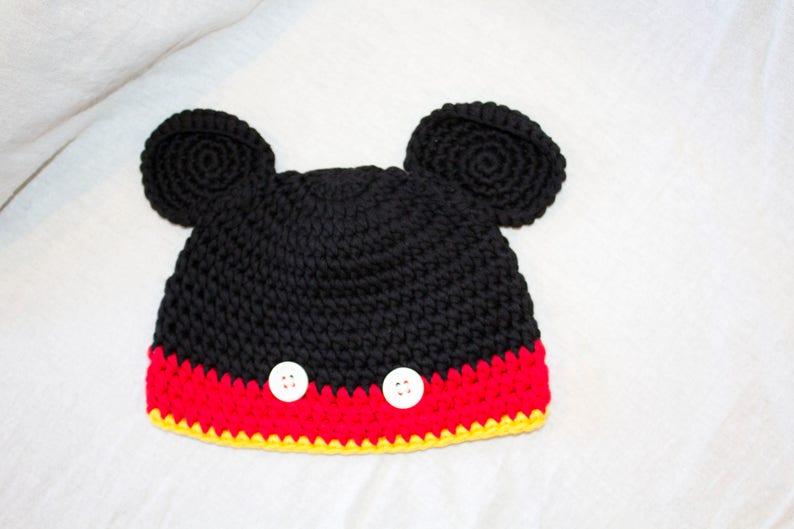 cfe325bb5 Halloween Mickey Mouse Disney Baby Crochet Hat Winter Fall Set- newborn  -Baby Boy Photo Shoot -Baby Photo Props - Christmas gift