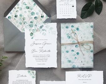 Greenery Watercolour - Luxury Wedding Invitations set. Wedding invitation with watercolor eucalyptus greenery and vellum