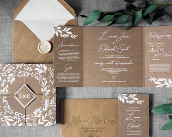 Laurel - Wedding Invitations & Save the Date. Luxury folding wedding invites, Rustic wreath kraft effect wedding invitations