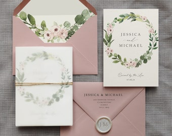 Wedding Invitation - Jessica. Greenery Wreath with Pink Flowers. Eucalyptus and Blush pink florals. With rustic twine and vellum wrap