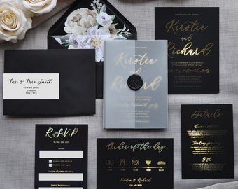 Wedding Invitation - Luxury Foiled Script. Gold, Silver or Rose Gold foil. Monochrome wedding invitation set, custom colours available