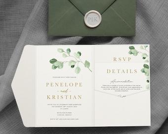 Penelope - Greenery wedding invitations. Wedding invitation - Eucalyptus Wedding. Greenery wedding. Pocket fold. Pocket-fold. Pocketfold