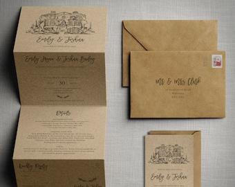 Wedding invitation - Venue Sketch Kraft - Wedding Invitations & Save the Date or change the date. Kraft brown card and custom venue sketch