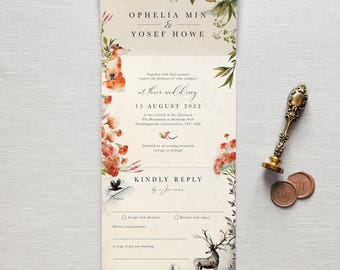 Wedding invitations etsy once upon a time all in one wedding invitation no envelope needed simply pop it in the post rustic autumnal woodland fox deer raven stopboris Images