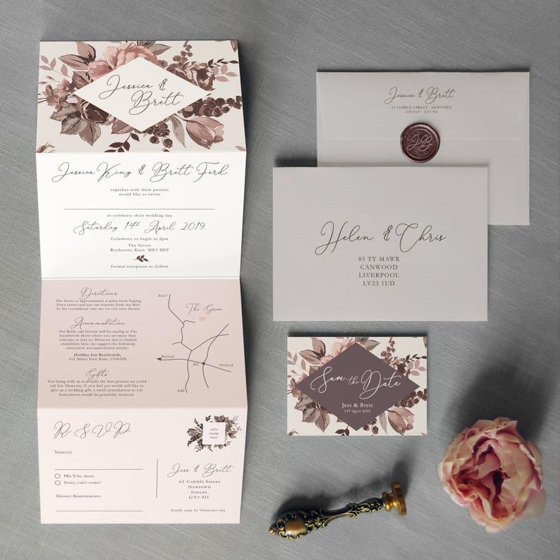 Belle Wedding Invitation. Concertina Wedding Invitation. image 0