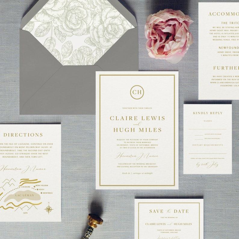 Luxury Wedding Invitations.Buckingham Luxury Wedding Invitations Save The Date Traditional Wedding Invites Monogram Detail For A Classy Occasion