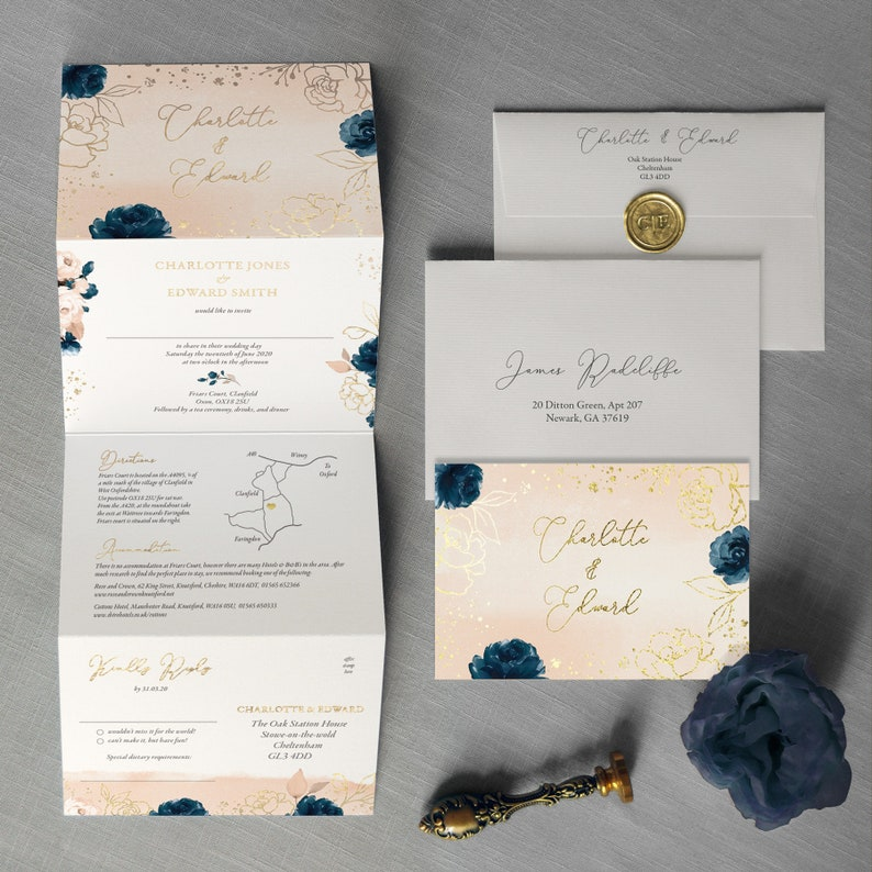 Juliet concertina wedding invitation  gold foil watercolour image 0