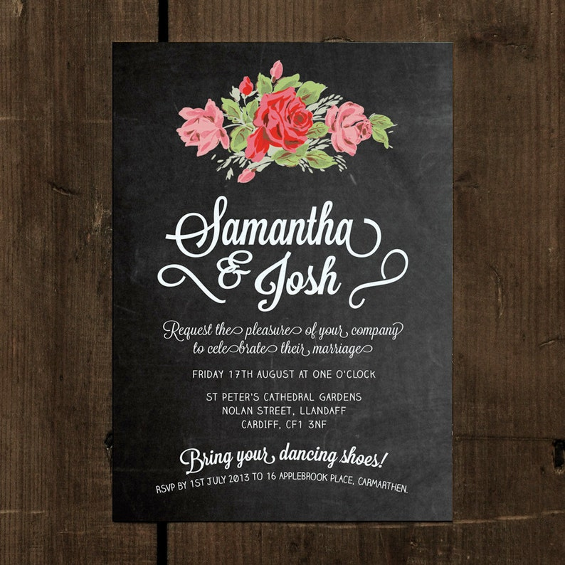 Floral Chalkboard Wedding Invitation Set On Luxury Card Etsy