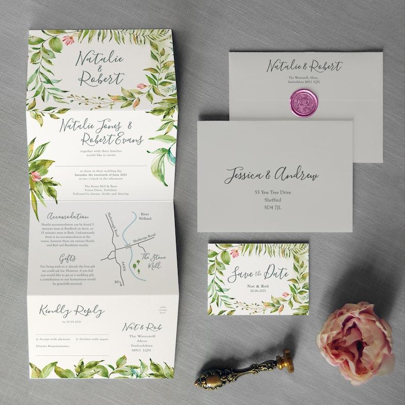 Paradise Garden  Greenery Concertina Wedding Invitations and image 0