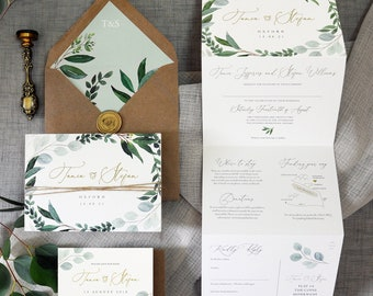 Eucalyptus - Luxury Trifold Wedding Invitations & Save the Date or change the date. Rustic Eucalyptus wedding, greenery wedding invites