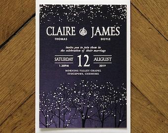 Winter Snow Wedding Invitations Set on Luxury Card - Perfect for a Christmas or winter wedding. Winter wedding invites, Kraft background