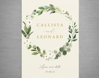 Amelia - Save the Date or Change the Date, card or magnet, calendar. White Floral, Eucalyptus greenery wedding invites & save the dates