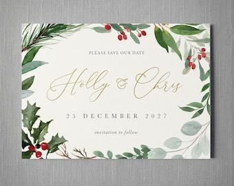 Winter Christmas Wedding Invitation. Holly Save the Date, card or magnet, calendar. Eucalyptus greenery. Winter or Christmas wedding