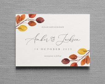Autumn Save the Date, Fall Save the Date, Autumn wedding, Fall wedding, Change the Date, magnet, calendar. Eucalyptus wedding save the dates