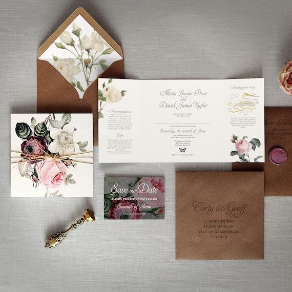 english garden luxury folding wedding invitations save the etsy