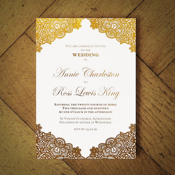 Versailles Foil Wedding Invitation On Luxury Card Silver Etsy